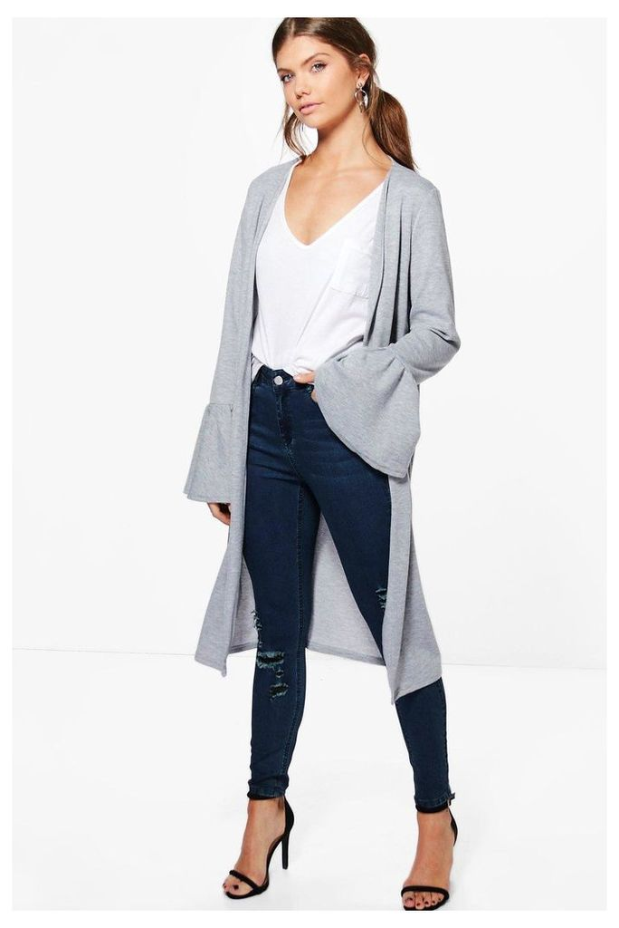 Maire Ruffle Sleeve Duster Jacket - smoke