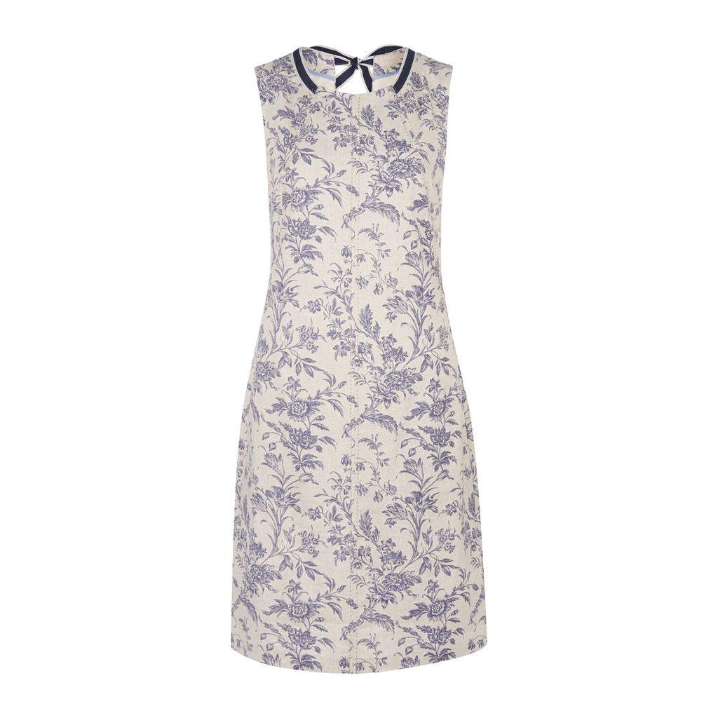 Sleeveless Floral Toile Print Linen Shift Dress