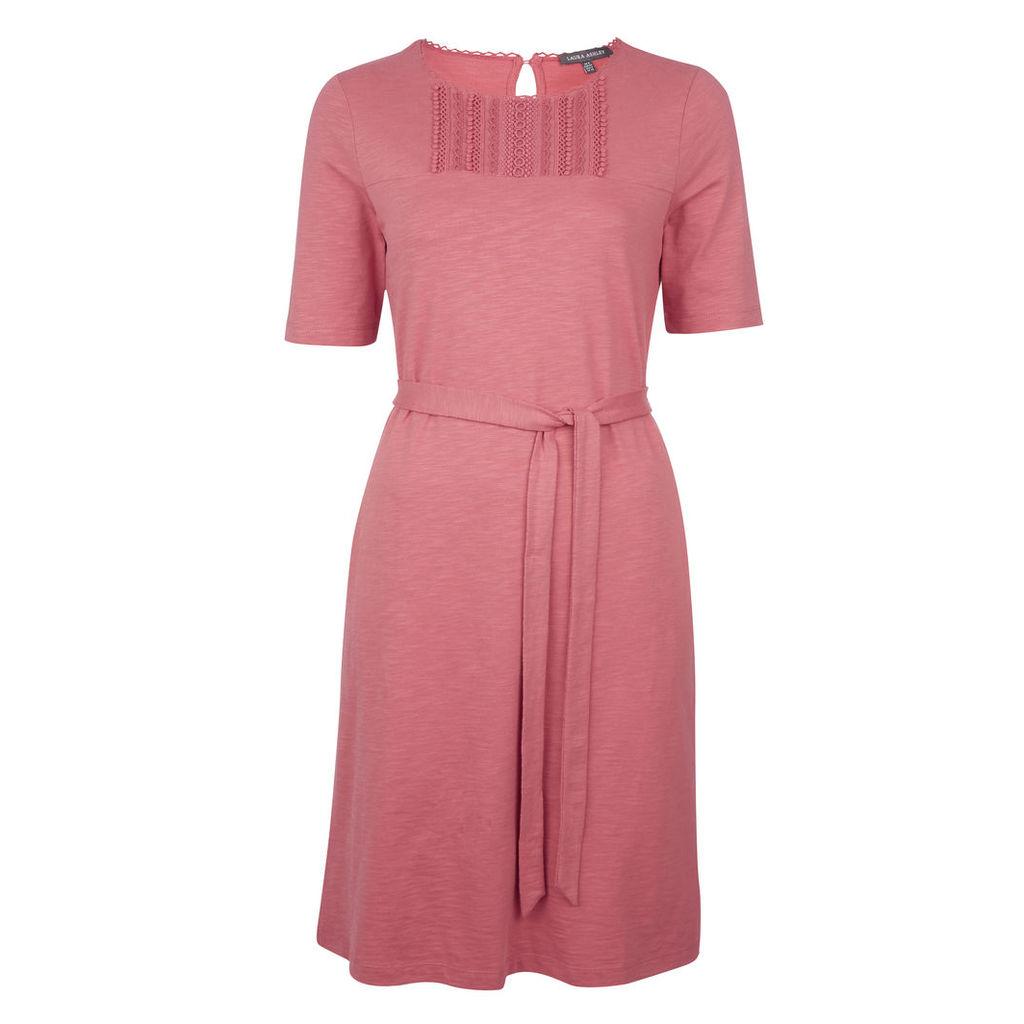 Pink Bib Detail Jersey Dress
