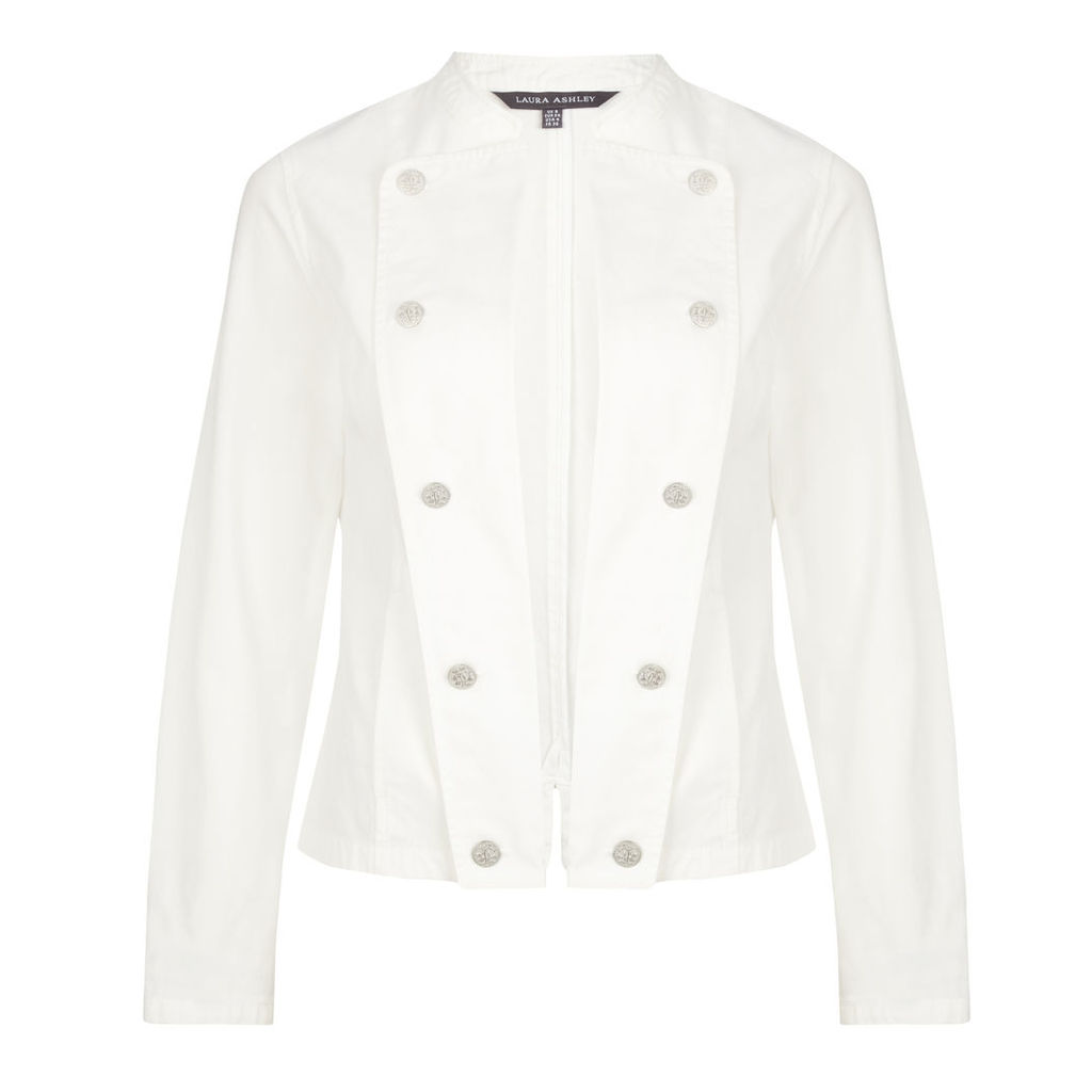 White Double Breasted Cotton Military Jacket