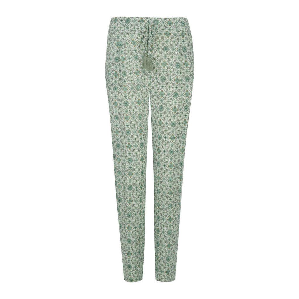 Floral Print Drawstring Waist Trousers