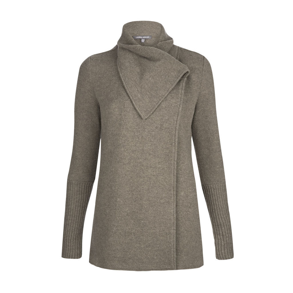 Grey Boiled Wool Collared Cardigan