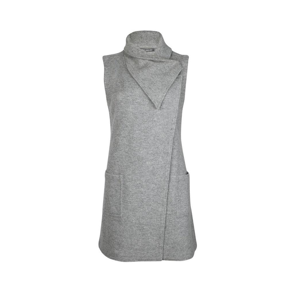Long Grey Boiled Wool Gilet