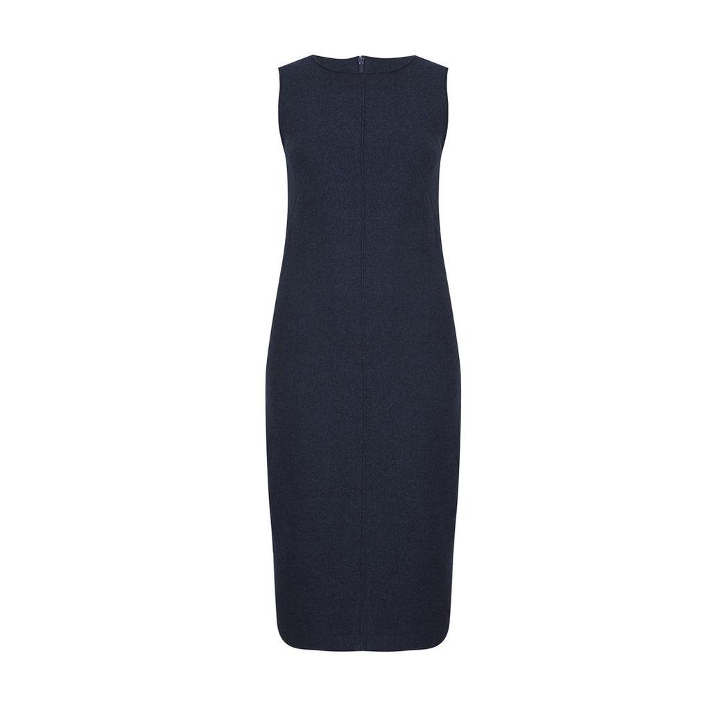 Blue Raw Edge Boiled Wool Dress