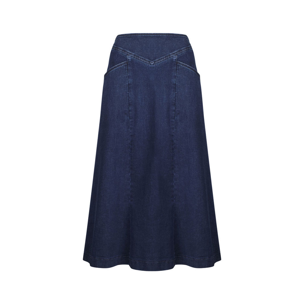 Long Denim Flared Skirt