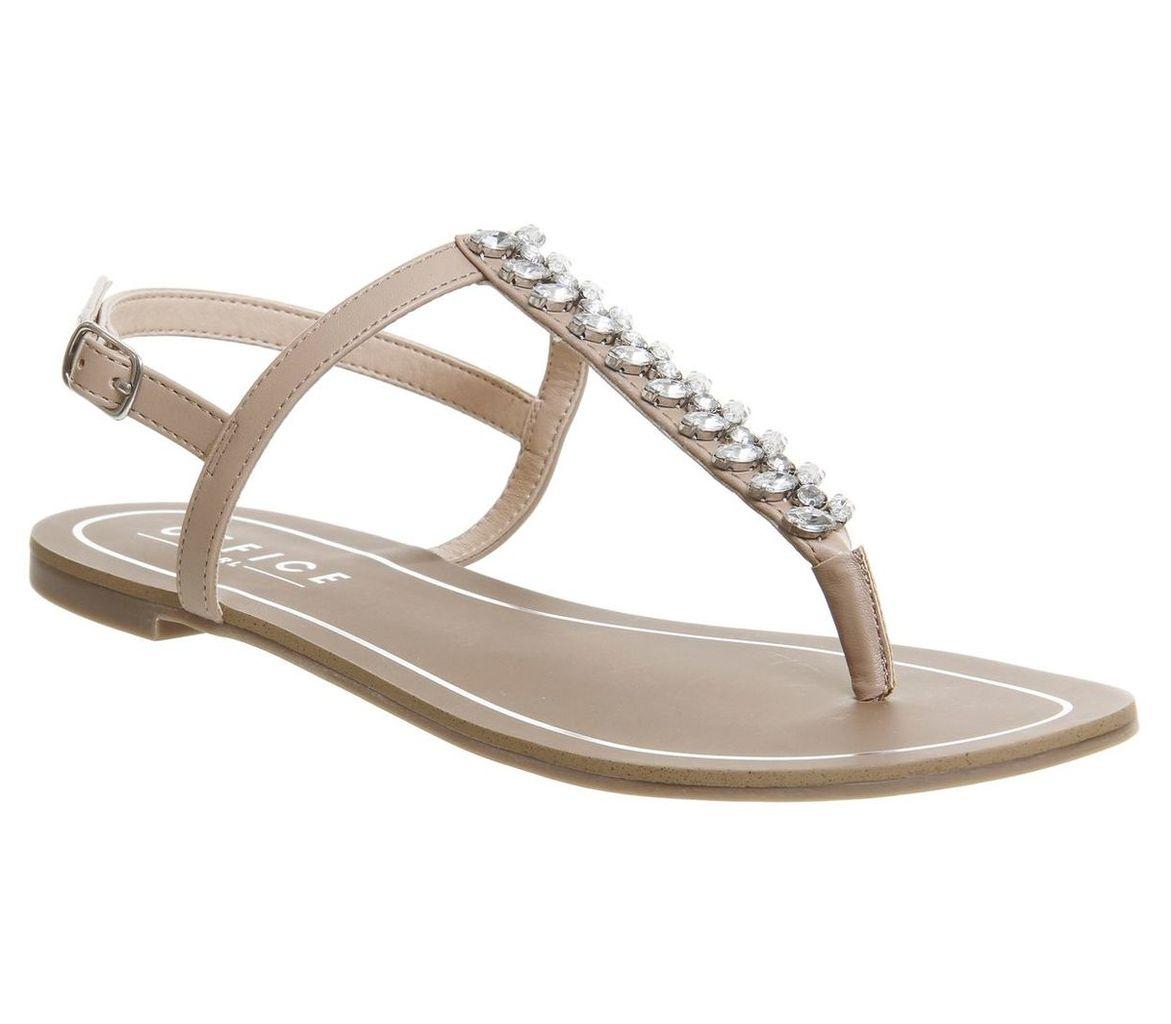 Office Sprinkles Embellished Toe Post Sandals, Nude