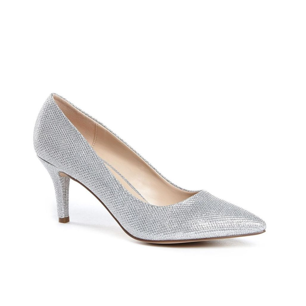 Paradox London Pink Appointed Mid Heel Court Shoes, Silver Silverlic