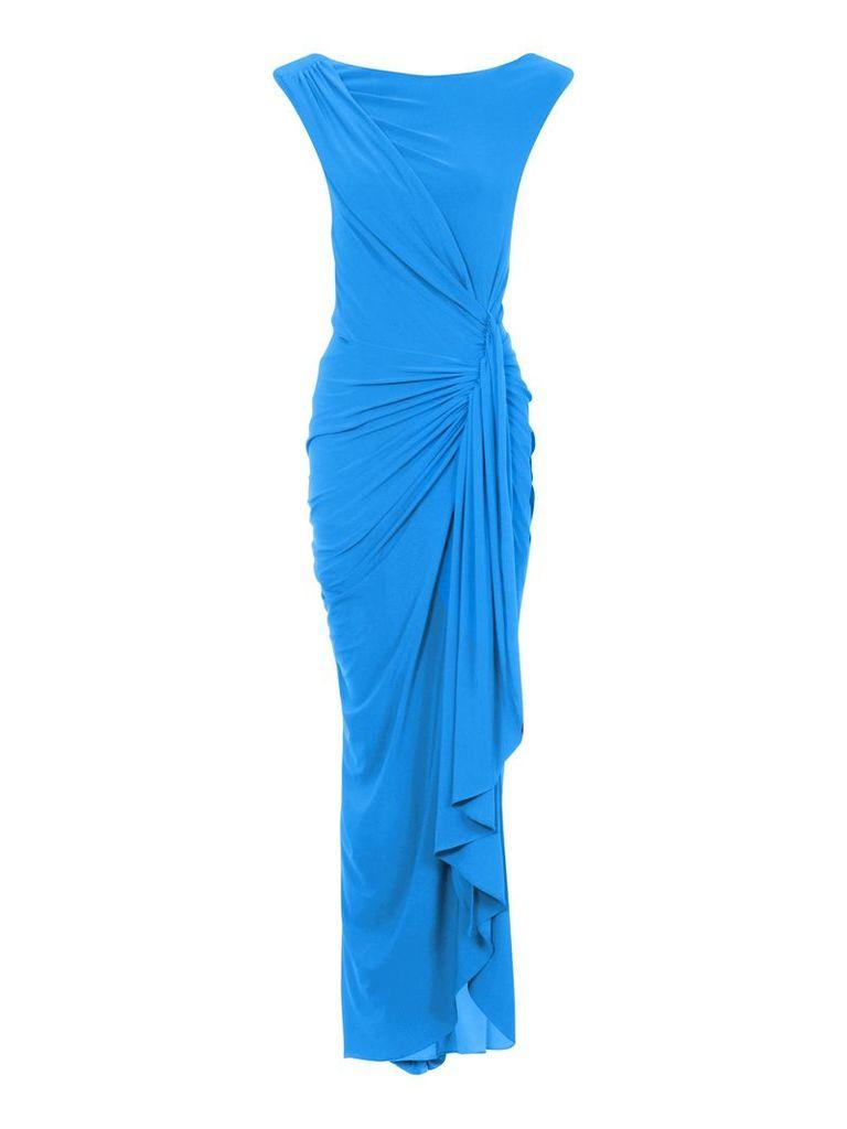 HotSquash Grecian Maxi Dress in Clever Fabric, Blue