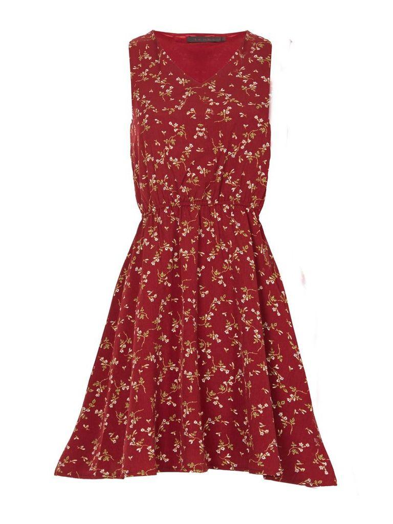 TENKI V-Neck Sleeveless Floral Skater Dress, Maroon
