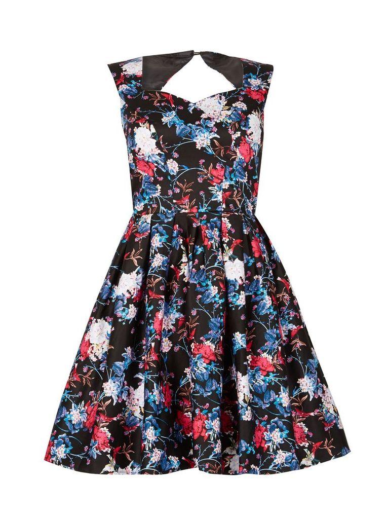Izabel London Floral Fit-And-Flare Dress, Multi-Coloured