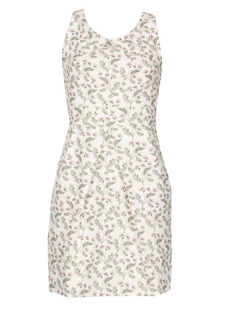 TENKI Sleeveless Leaf Print Tulip Dress, White