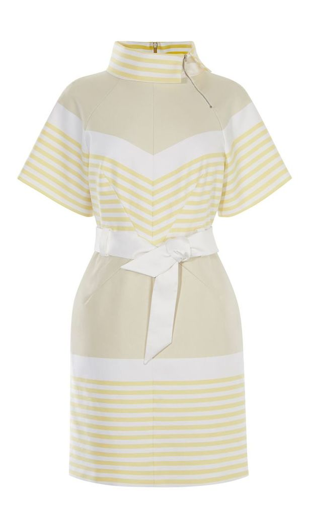 Karen Millen Belted Stripe Dress, Multi-Coloured