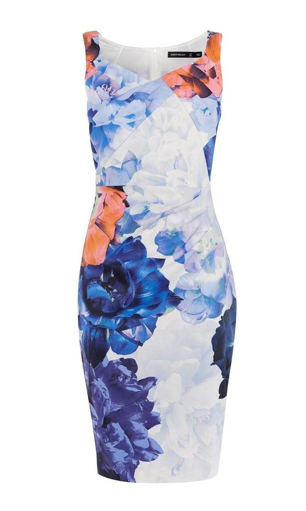 Karen Millen Floral Draped Pencil Dress, Multi-Coloured