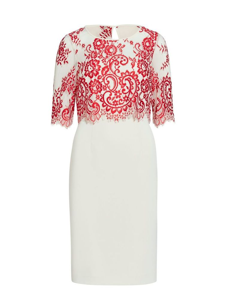 Gina Bacconi Crepe dress with embroidered net bodice, Red