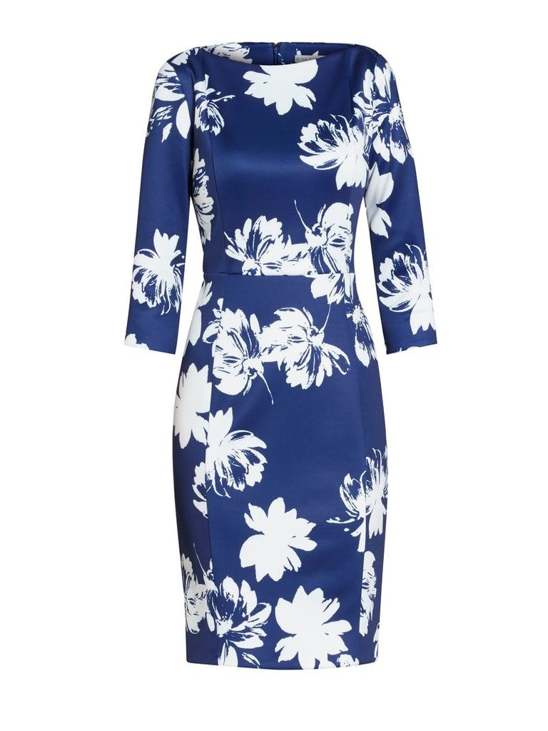 Gina Bacconi Brushed flower scuba dress, Blue