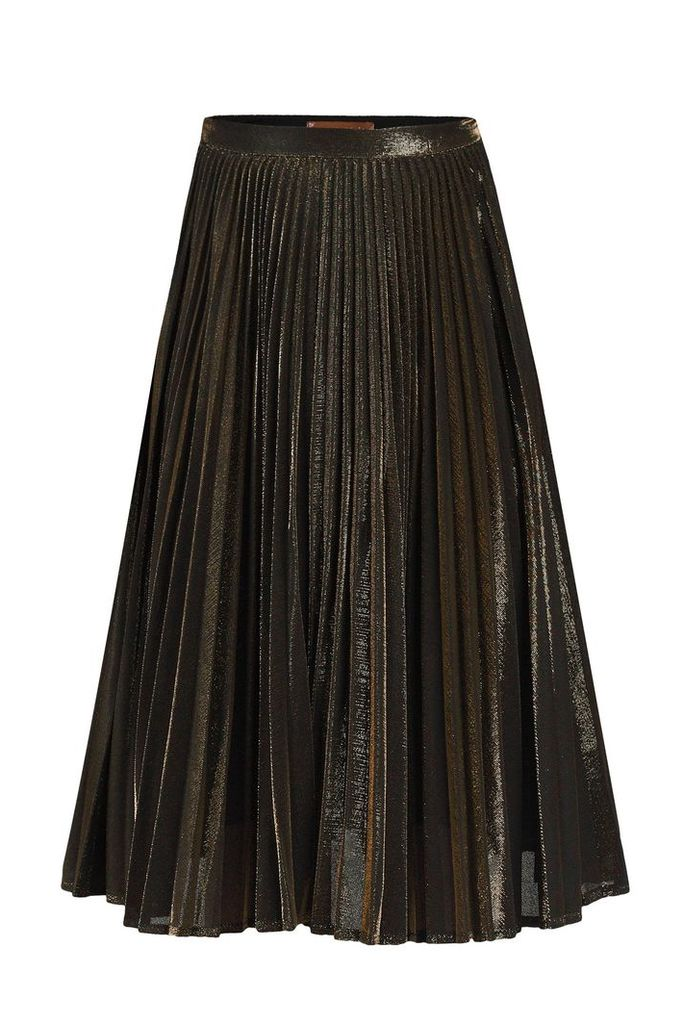 Jolie Moi Metallic Pleated A-Line Skirt, Multi-Coloured