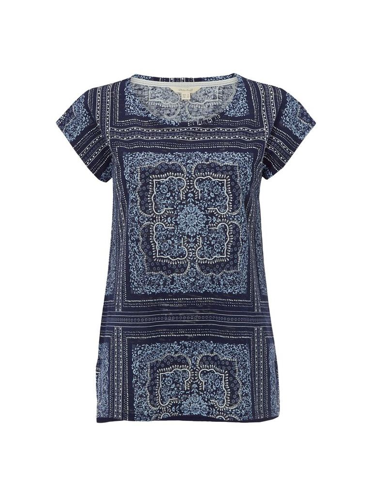 White Stuff Patch Scarf Jersey Tee, Blue