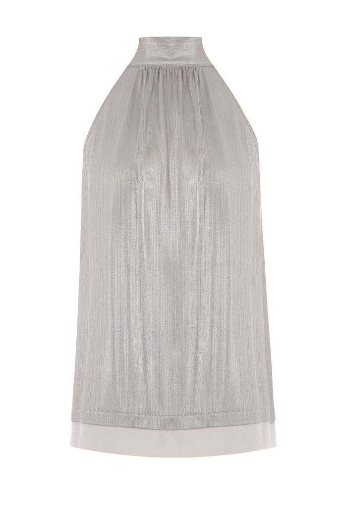 Oasis Liquid Foil Halter Top, Grey