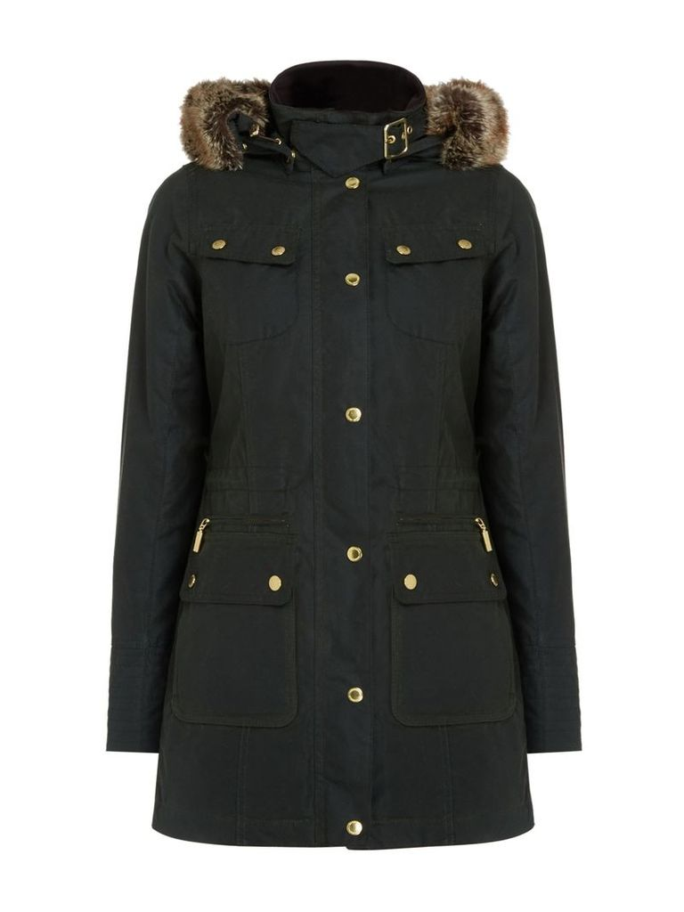 Barbour Mallory Wax Jacket with Faux Fur Hood, Sage