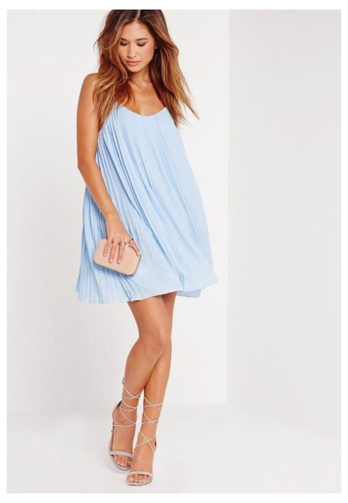 Strappy Pleated Swing Dress Blue, Blue