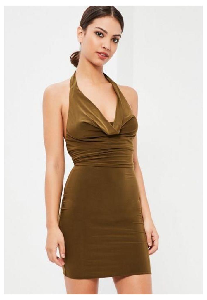 Khaki Slinky Cowl Front Midi Dress, beige