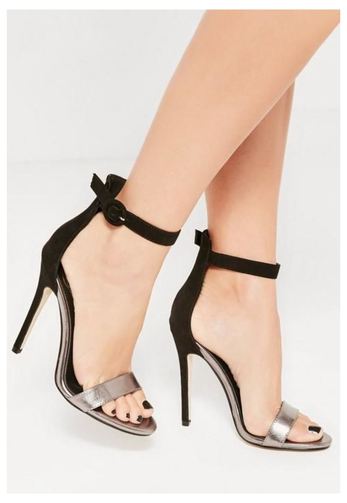 Black Metallic Faux Suede Barely There Heels, Black