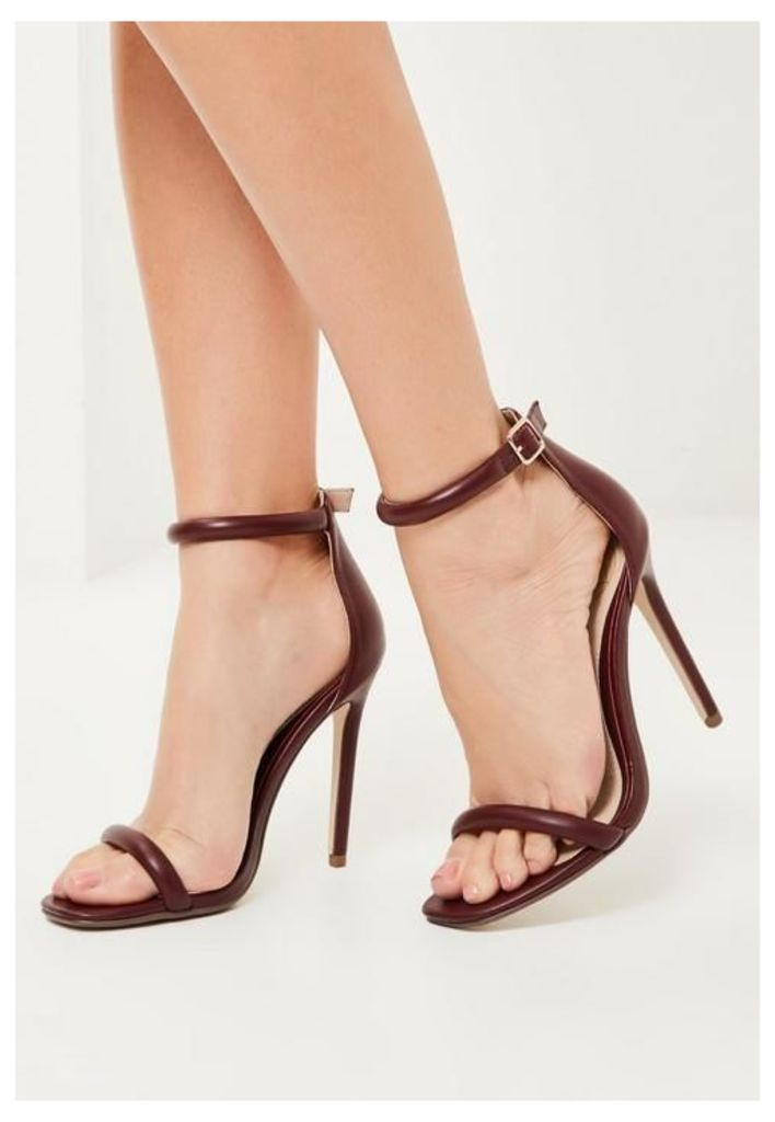 Burgundy Rounded Strap Barely There Heels, Red