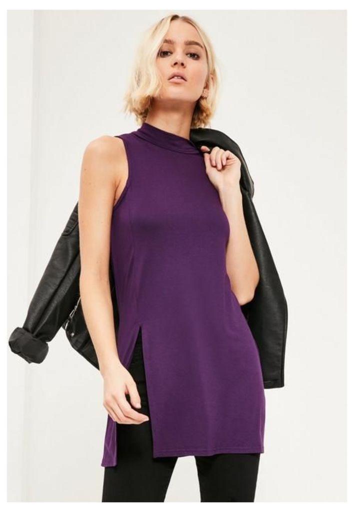 Purple Split Front Sleeveless Tunic, Purple
