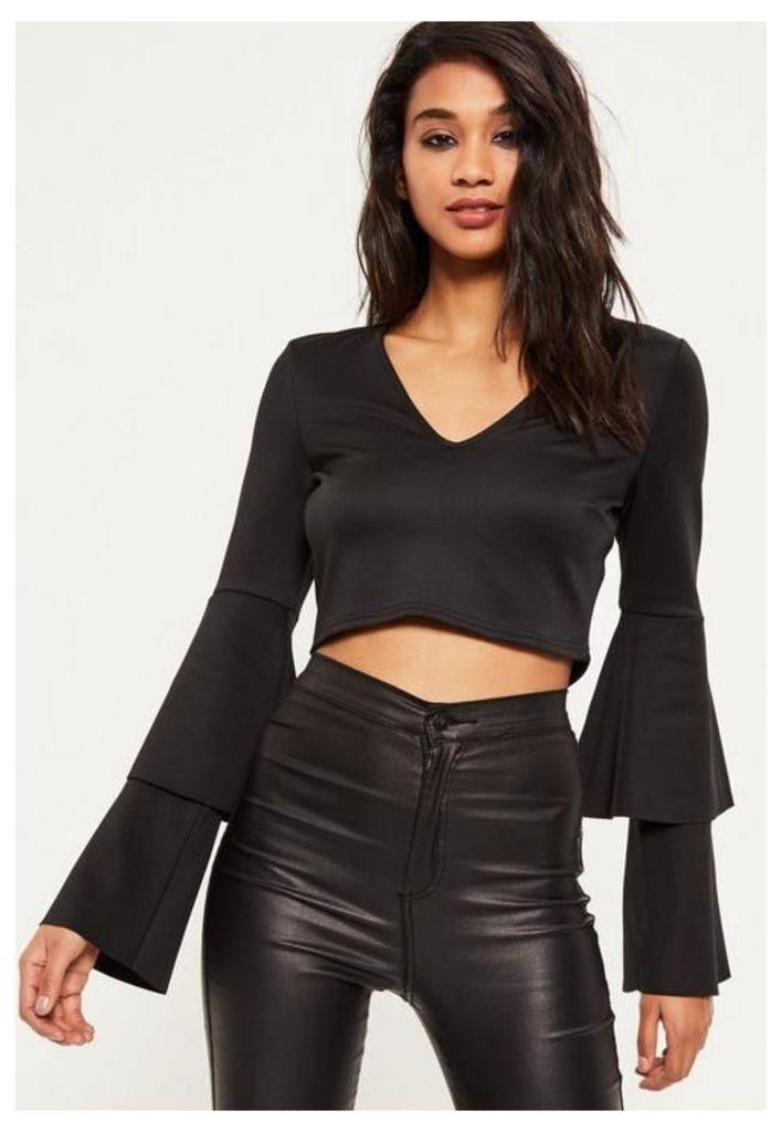 Black Layered frill sleeve crop top, Black