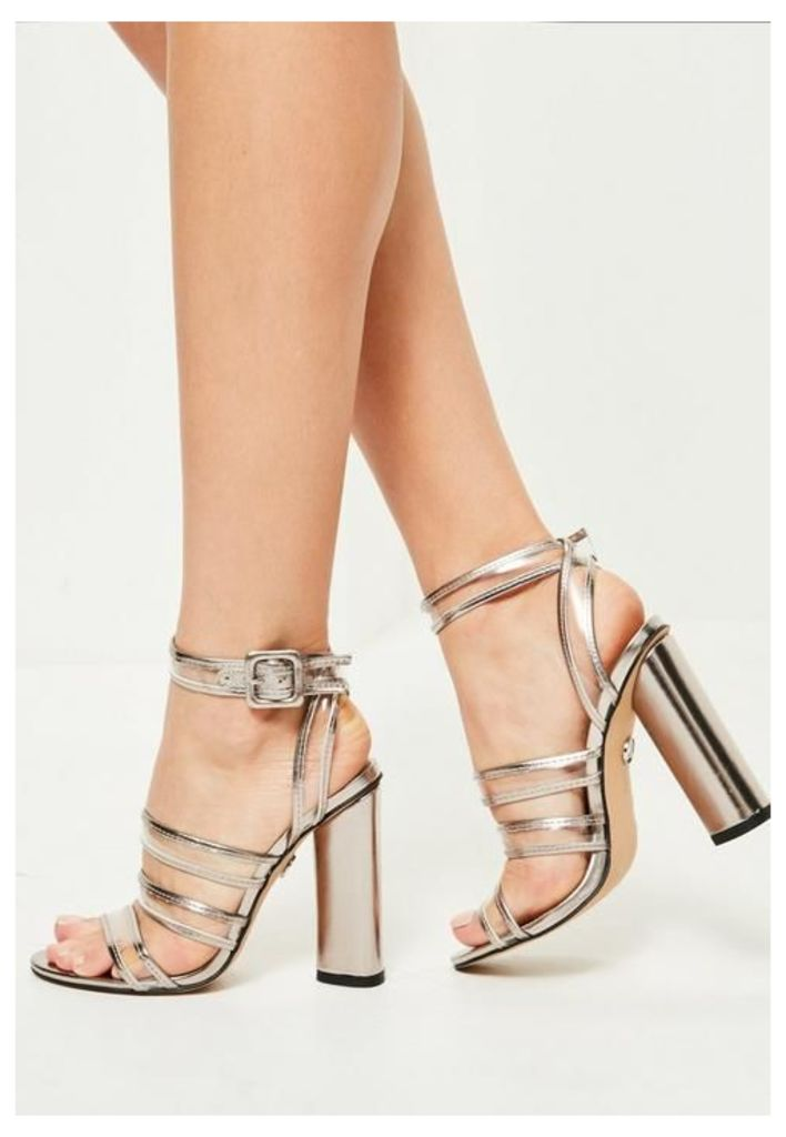 Silver Clear Multi Strap Block Heeled Sandals, Grey