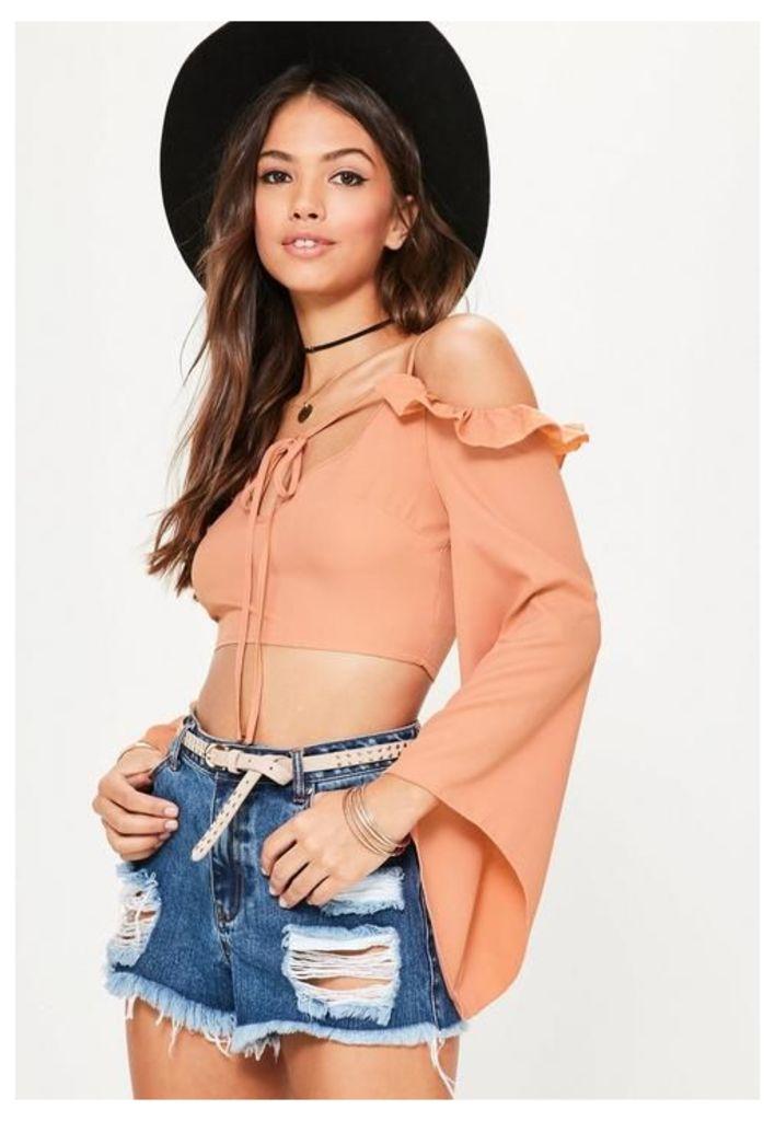 Orange Frill Sleeve Tie Front Crop Top, Pink