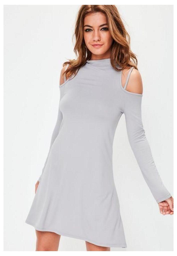 Grey High Neck Cold Shoulder Swing Dress, Grey