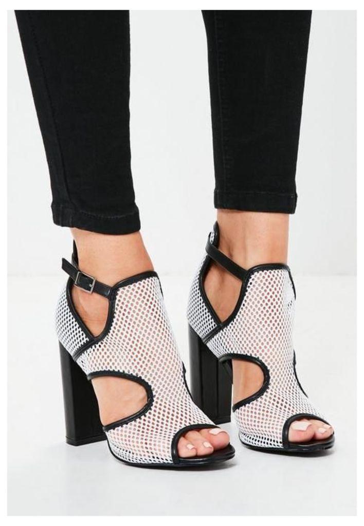 White Mesh Panelled Block Heel Sandals, White
