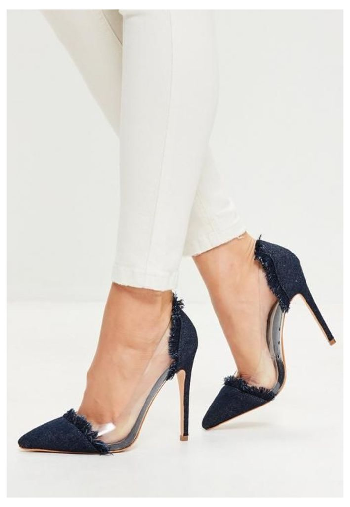 Navy Clear Panel Pointed Toe Court Shoes, Blue