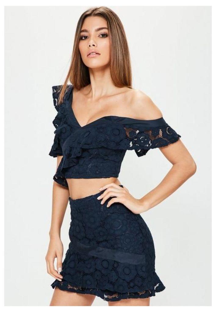 Navy Lace Frill Detail Mini Skirt, Blue