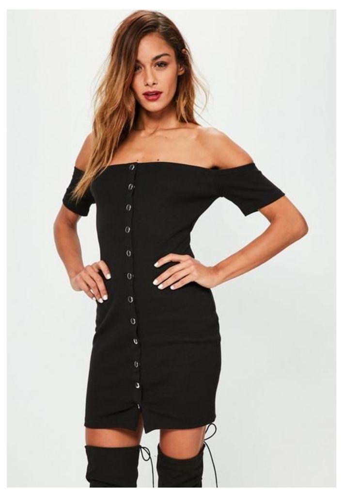 Black Studded Popper Detail Bardot Bodycon Dress, Black