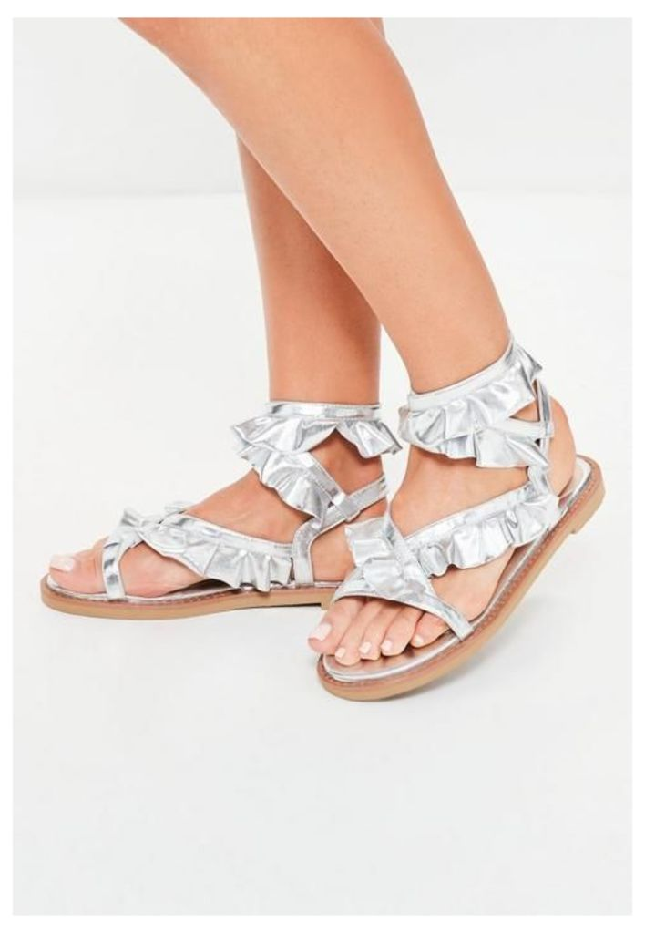 Silver Ruffle Ankle Tie Sandals, Grey