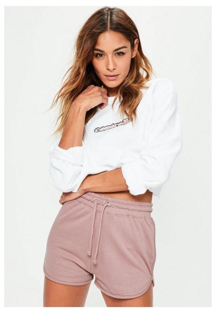 Pink Tie Waist Runner Shorts, Pink