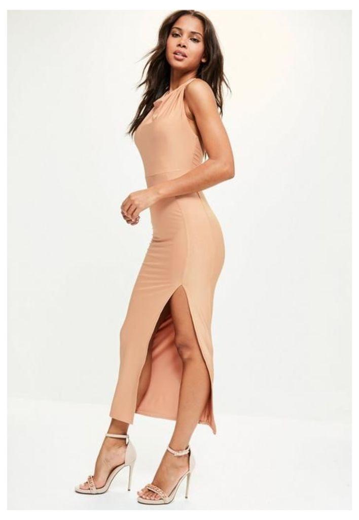 Nude Slinky Halterneck Thigh Split Dress, Brown