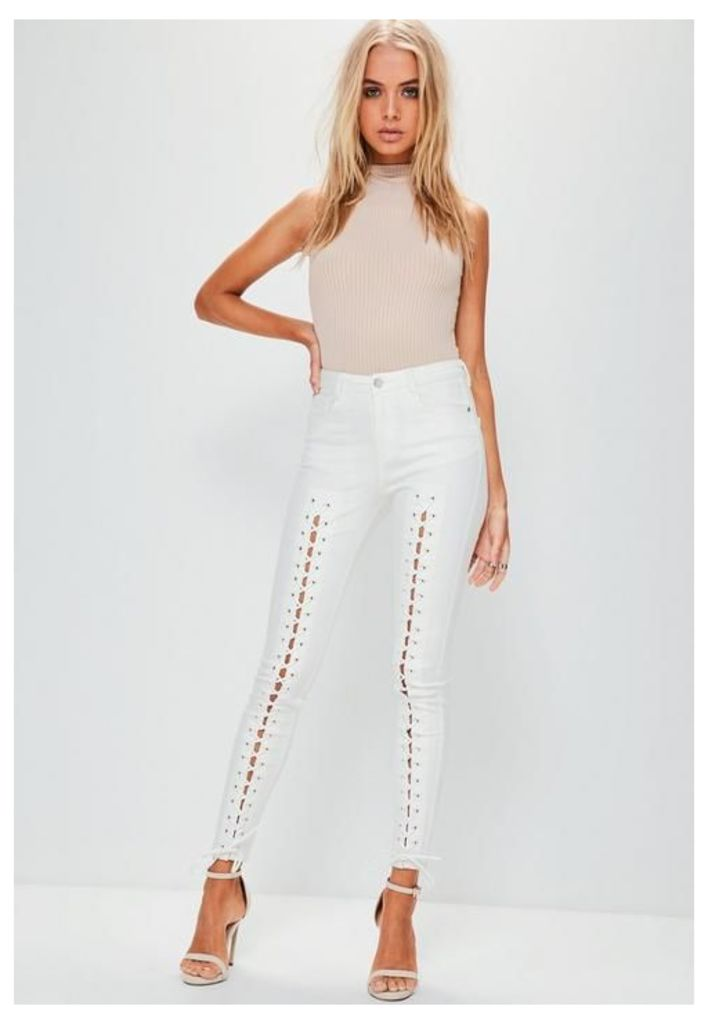 White Mid Rise Lace Up Super Skinny Jeans, White