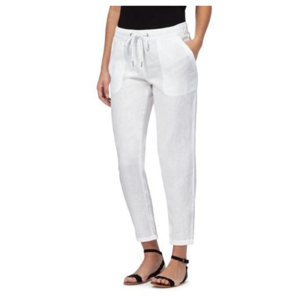 The Collection Womens White Linen Blend Cropped Jogging Bottoms 8R