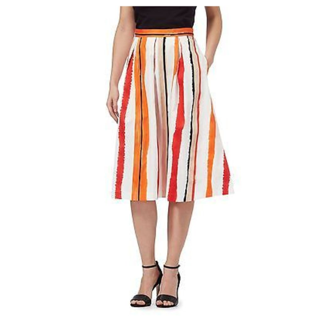 Principles By Ben De Lisi Womens Orange Striped Midi Skirt From Debenhams