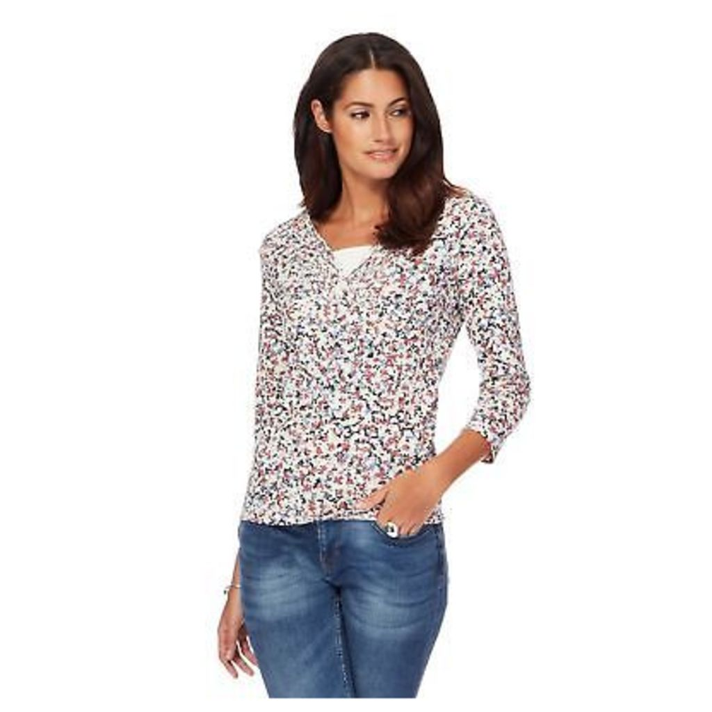 Maine New England Womens Multi-Coloured Floral Print Pleated V-Neck Top