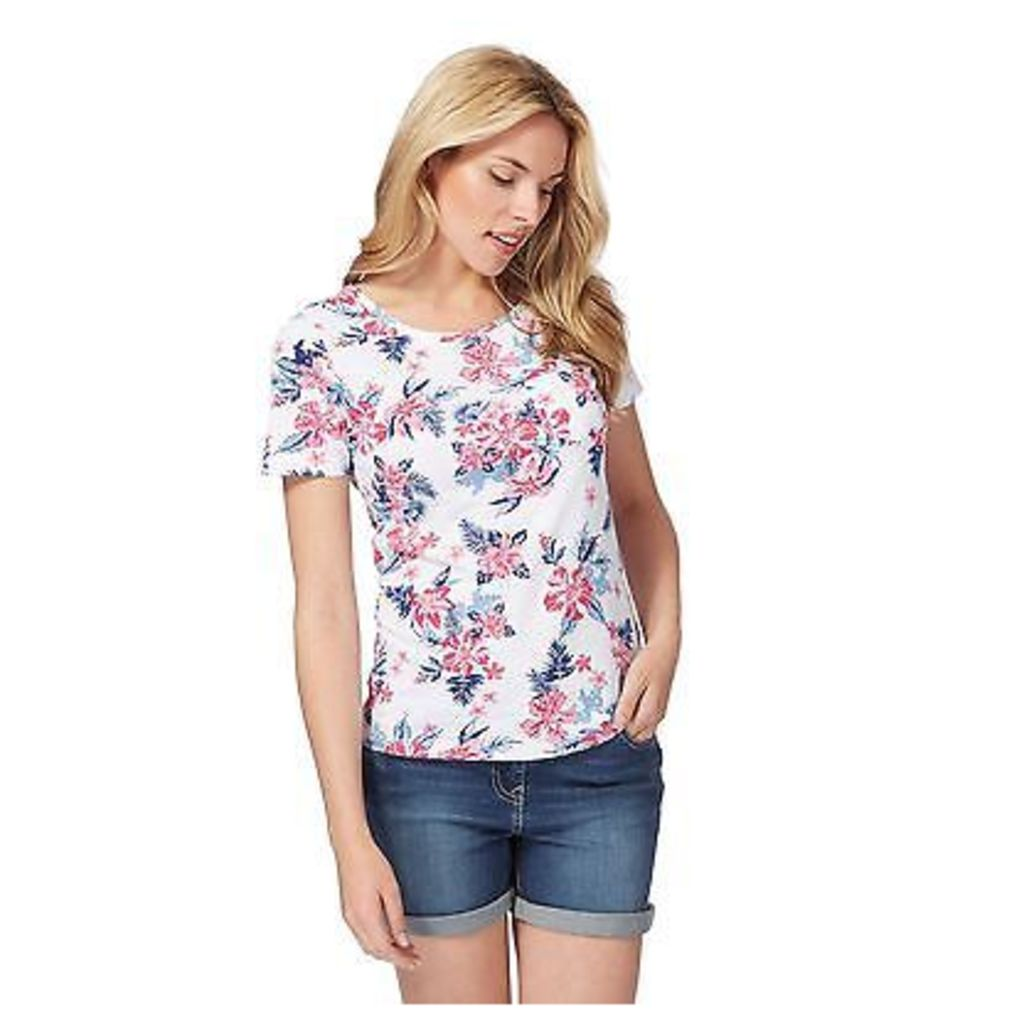 The Collection Womens White Floral Tropical Print T-Shirt From Debenhams