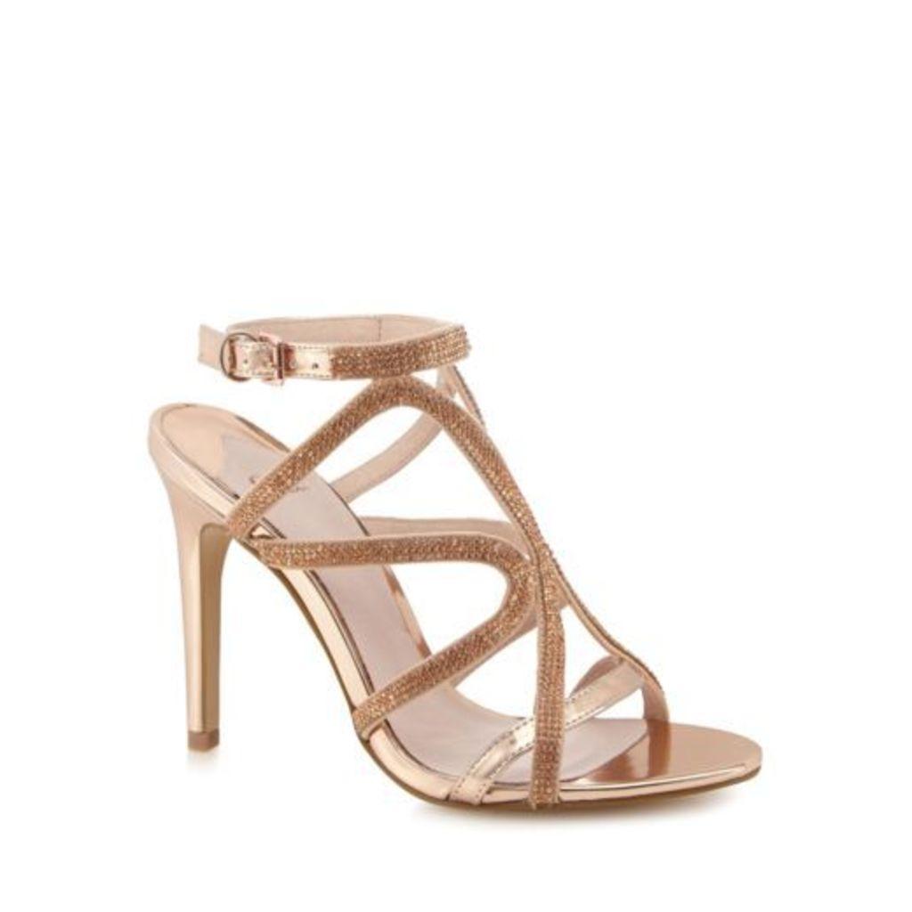 Faith Pink Diamante 'Lohan' High Stiletto Heel Ankle Strap Sandals 5