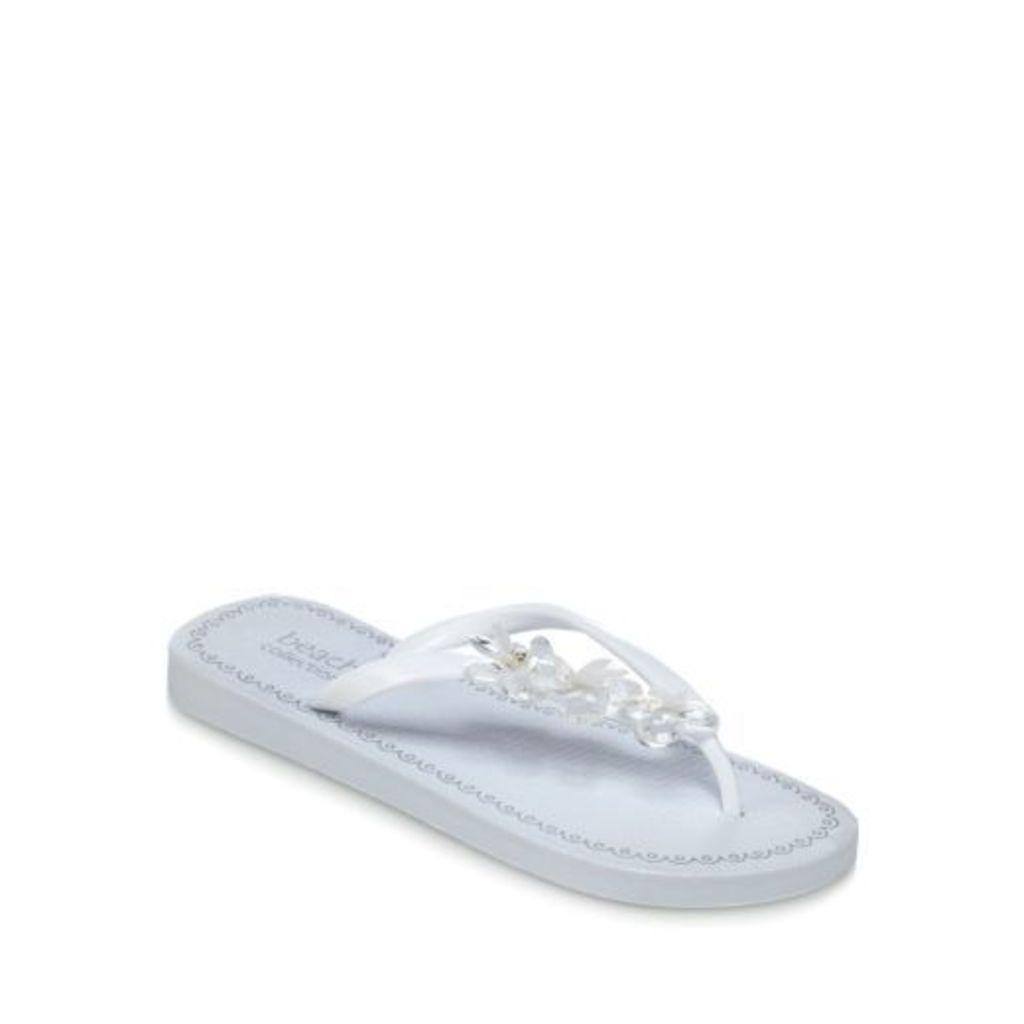 Beach Collection White 'Eva' Flip Flops From Debenhams