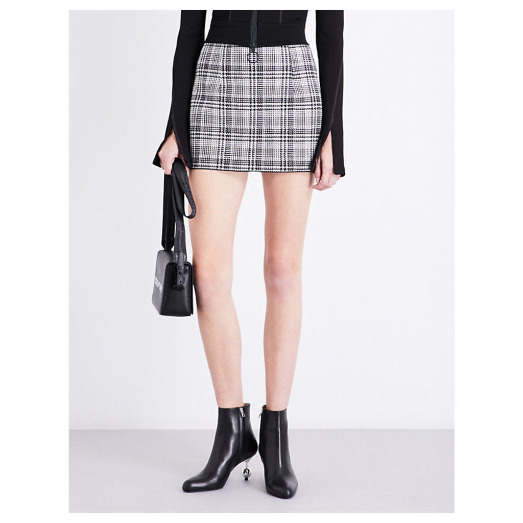Checked high-rise woven skirt