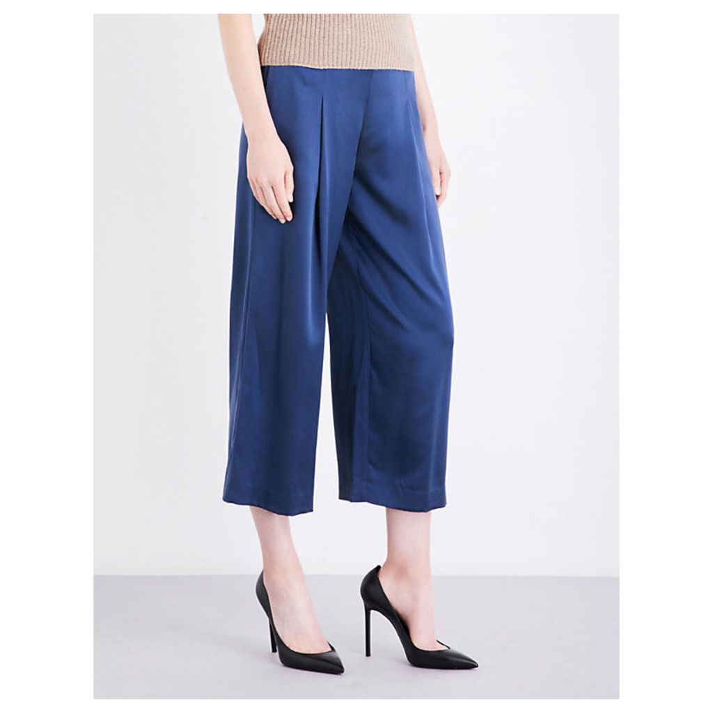 Zavabell wide-leg silk-satin trousers