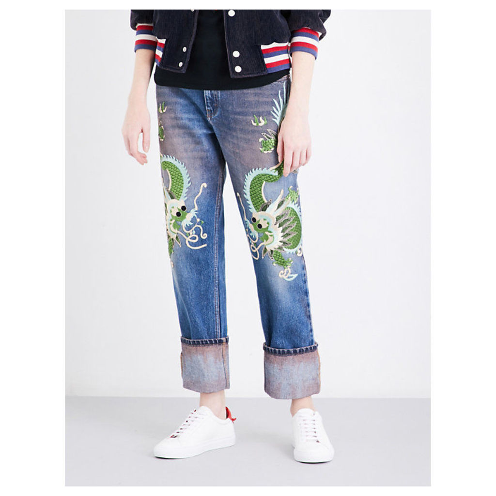 Dragon-embroidered mid-rise straight jeans