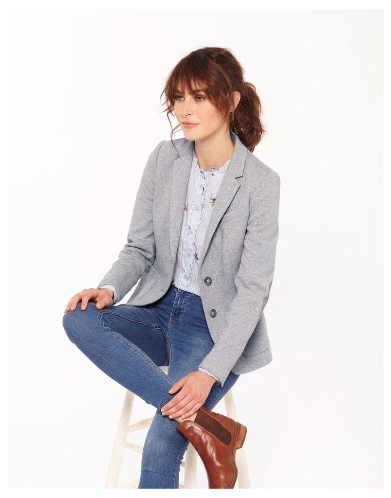 Light Grey Multi Fleck Gerrie Jersey Tweed Blazer  Size 10   Joules UK